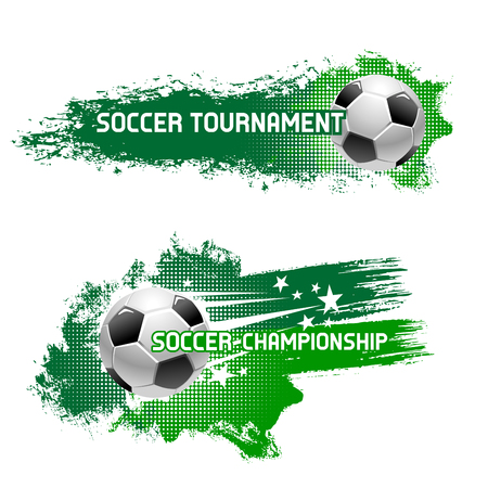 Soccer tournament poster, banner or icon design of flying football ball with speed green trace and stars. Vector set for football or soccer league club championship or sport game international contest Vettoriali