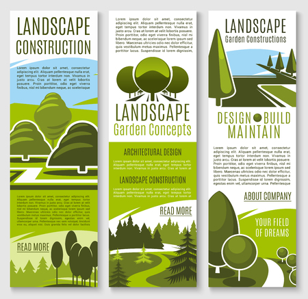 Gardening or landscape construction company banners for urban horticulture and garden planting association. Green parks and nature landscape of eco village or woodland and parkland trees vector design Ilustração