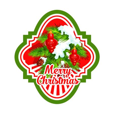 クリスマスの休日のボールのラベルとクリスマス ツリー。赤い安物の宝石、雪、松ぼっくり、メリー クリスマスの願いと松の木の枝は、冬の休日の  イラスト・ベクター素材