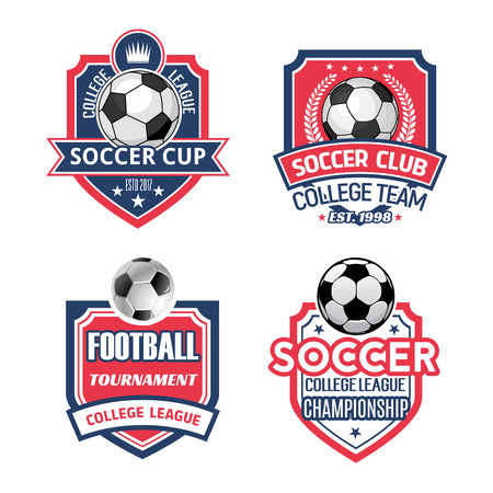 Soccer sports club or football championship cup icon templates. Vector isolated set of soccer or football ball, goal star on ribbon, victory wreath and crown on shield for sport team champion league