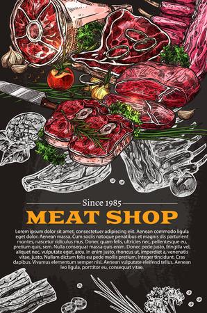 De delicatessenaffiche van de vleeswinkel van slagerijopslag. Vector schetsontwerp van boerderij slager vlees en worst, ham of spek en barbecue steak borststuk, entrecote of rosse buurt, salami en pepperoni of cervelat