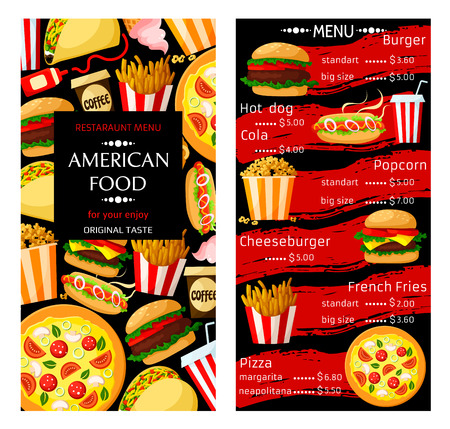 Fast food price menu template for burgers, pizza or sandwiches and popcorn dessert. Vector fastfood meals of cheeseburger, hamburger or hot dog and french fries, soda or coffee drinks