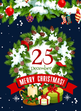 Merry Christmas greeting card for 25 December winter holiday on Christmas tree or holly wreath decoration in snowflakes. Vector New Year Santa gift, eve candle and gingerbread cookie on red ribbon bow Illustration