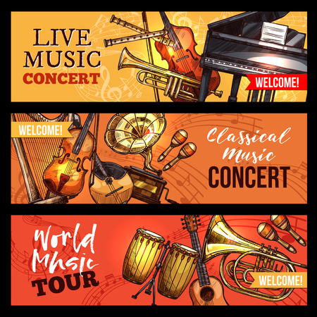 Live music concert or band world tour banners of musical instruments. Vector sketch violin fiddle or contrabass and percussion drum or maracas, harp and trumpet or saxophone, piano and banjo guitar Illustration