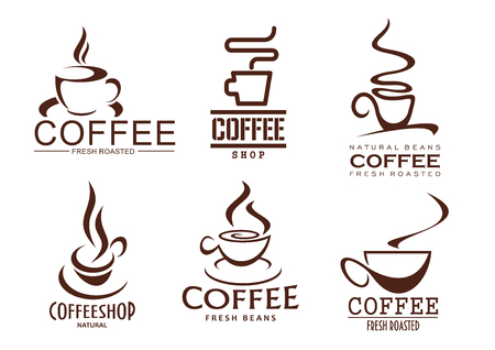 Coffee cups outline of hot steam drink for coffeehouse, cafeteria or coffeeshop cafe sign design. Hot steamy chocolate mug, strong espresso or latte macchiato and americano. Vector isolated icons set