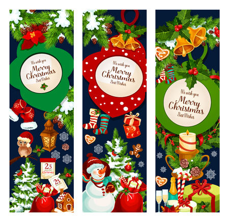 Merry Christmas holidays greeting banners or wish cards design. Vector Christmas tree garland decorations, New Year Santa gifts and stockings, 25 December calendar and cookies in winter snowflakes