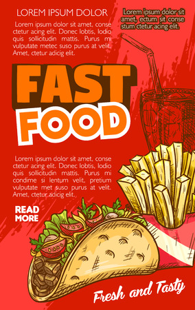 Fast food tacos snack or sandwich and french fries menu poster with price for cinema bar bistro or fastfood restaurant. Vector sketch design template of fried potato snack and mexican grill tortilla Çizim