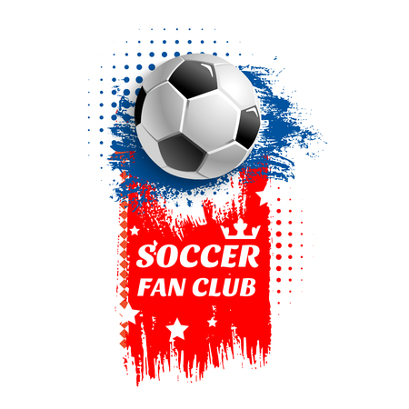 Soccer fan club icon or poster of 3D football ball in goal gates at arena stadium. Vector design of stars and victory crown for soccer championship or champion league sport tournament