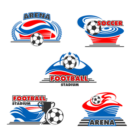 Soccer arena or football stadium icon with balls for sport or game championship icon design. Vector isolated set of flying football ball to goal, soccer winner cup award in stars and laurel wreath