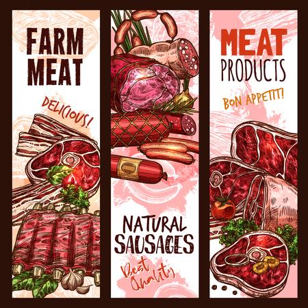 벡터 배너 스케치 도살 가게 고기 제품
