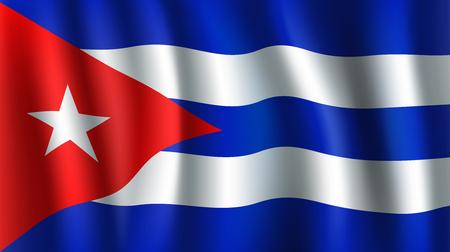 Vector 3D vlag van Cuba. Cubaans nationaal symbool