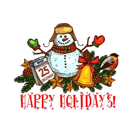 Kerstboom met bel en sneeuwpop schets pictogram