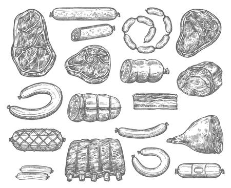 Vectorschetspictogrammen van vleeswaren en worsten Stock Illustratie