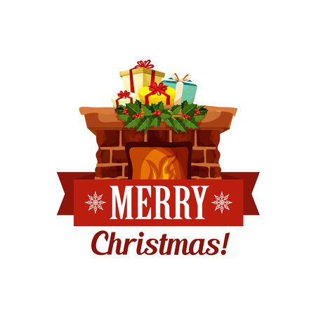 Merry Christmas holiday vector greeting card icon Illustration