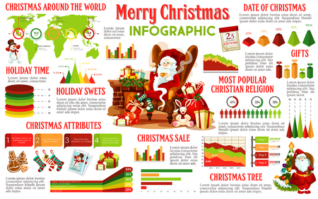 Christmas infographic of holiday celebration traditions. Graph and chart of Xmas tree, gift and seasonal sale, winter holidays around the world statistic map and step diagram with Santa and snowman Ilustração
