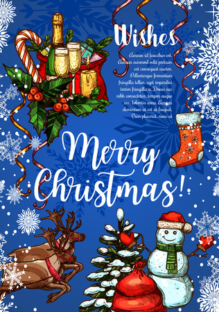 Merry Christmas wishes for winter holidays greeting card sketch design. Vector Christmas tree garland decoration, New Year Santa gifts and reindeer, champagne and snowman with stocking