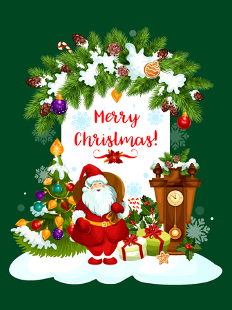 Merry Christmas greeting card design of Santa gifts and Christmas tree in New Year decorations garland. Vector eve clock and holly wreath, golden bell and gingerbread cookie for winter holidays wishes