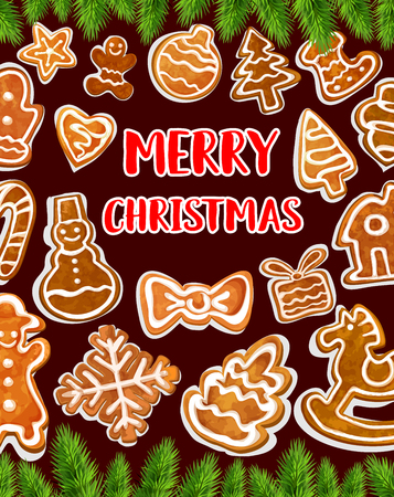 Christmas cookie greeting card for winter holidays celebration. Gingerbread biscuit in shape of Xmas tree, gift and snowflake, ball, sock and candy, bow, star and heart poster, edged with fir branch