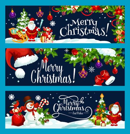 메리 크리스마스와 최고의 소원 인사말 배너 디자인 서식 파일을 싶습니다. 벡터 산타 선물 가방 크리스마스 트리, 썰매에 눈사람 및 겨울 휴가 눈에