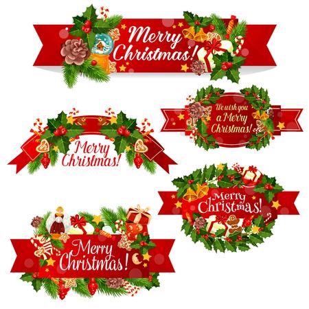 Weihnachtskranz-Bandfahne für Winterfeiertagsfeier. Stechpalmenbeere und Weihnachtsbaum verzweigen sich mit Sankt-Glocke, rotem Band und Geschenk, Stern, Süßigkeit und Plätzchen, Lebkuchenmann, Socke und Kugel Standard-Bild - 88461487