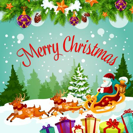 De vrolijke kaart van de Kerstmisgroet van Kerstman op rendierar met giftenzak. Vectorkerstboomdecoratie van kegel, bal en klok met sterslinger voor Gelukkige Nieuwjaarwens op de winterseizoenvakantie