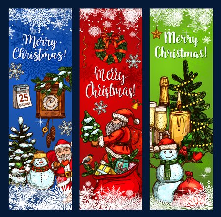 Christmas Day greeting banner with Xmas tree and gift sketches. Santa Claus and snowman with presents, candle and calendar festive card design with Christmas wreath, snowflake, ribbon and star Illustration