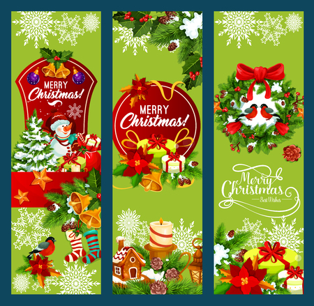 Merry Christmas holiday greeting banners design. Vector Santa gift bag and snowman, stockings and holly wreath decoration or lights garland on Christmas tree for New Year winter season wishes
