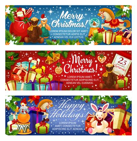 Vrolijk kerstfeest banners ontwerp voor seizoensgebonden groeten en vakantie wensen. Vector Santa-giftenzak en de slinger van de Nieuwjaardecoratie van gouden klok en ster op Kerstboom voor 25 December-kalender