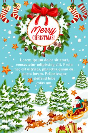 トナカイとサンタ クロースのそりのメリー クリスマスのあいさつ文のバナー。クリスマス リース、リボン弓、雪の結晶、星、靴下で飾られたギフ