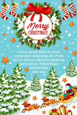 Merry Christmas greeting banner of Santa Claus sleigh with reindeer. Santa with gift bag and present box in sleigh festive poster, decorated with Christmas wreath, ribbon bow, snowflake, star and sock