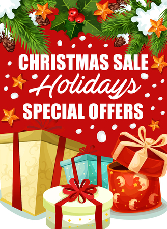 Christmas gift sale offer poster of Xmas and New Year holidays. Boxes of Christmas presents with ribbon and bow banner design, decorated by pine and holly branch with star, snowflake and pinecone