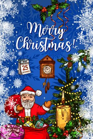 グリーティング カード クリスマスのギフト袋でサンタ クロース。クリスマス ツリーとサンタのプレゼントとスケッチ キャンドルとホリー ベリー   イラスト・ベクター素材