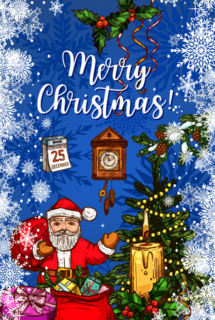 Santa Claus with gift bag Christmas greeting card. Xmas tree and Santa with presents sketch banner with candle and holly berry branch, snowflake, ribbon bow and calendar, clock and Christmas lights Çizim
