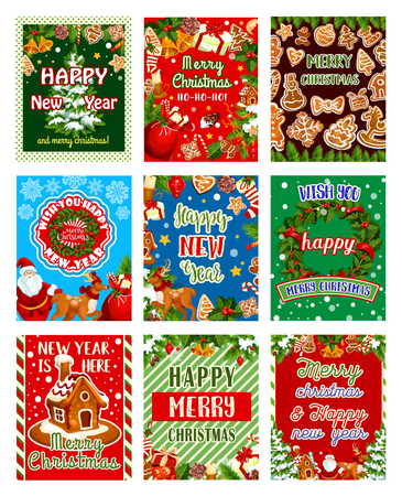 Christmas and New Year holiday greeting card set. Xmas tree wreath with holly berry, ribbon and bell, Santa, gift and ball, candy, cookie and snowflake, candle, star and sock, reindeer and gingerbread Vettoriali