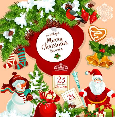 크리스마스 트리 장식, 산타 선물 가방 및 25 12 월 달력 및 홀리 헌화는 눈사람의 메리 크리스마스 소원 또는 인사말 카드 디자인. 벡터 새해 스타킹, 쿠 일러스트
