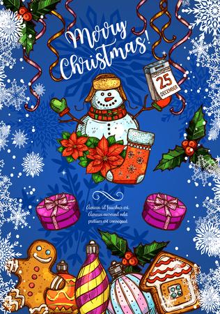 눈사람 및 산타 선물, 크리스마스 트리 및 새 해 장식 헌화는 메리 크리스마스 인사말 카드 스케치 디자인. 벡터 리본과 골든 벨 갈 랜드 볼, 별과 종 겨