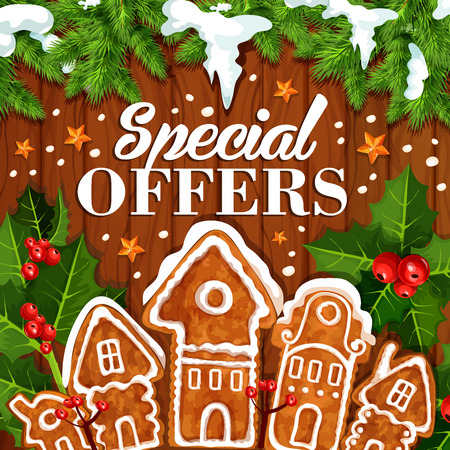 Christmas holidays sale and special offers promo poster design for winter seasonal discount shop. Vector gingerbread cookie house, Christmas tree decoration of holly wreath and snow for New Year sale