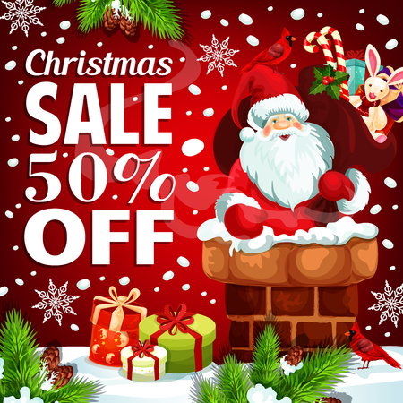 Christmas sale poster for winter holiday gift shop discount offer. Vector Santa in chimney with toy gift, Christmas tree decoration garland of bell, snowflake and holly wreath for New Year sale season