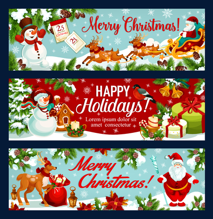 Christmas festive banner of Santa sleigh with gift. Santa Claus, snowman and reindeer sleigh with gift bag, candle, calendar and candy greeting card, adorned with snowflake, star, bell and holly berry