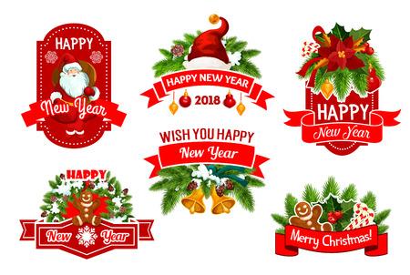 Feliz Natal e feliz ano novo 2018 férias de inverno saudação desejo ícones. Conjunto de vetores de decorações de guirlanda de árvore de Natal de coroa de azevinho e sinos dourados, presentes de Papai Noel e cookies em flocos de neve Foto de archivo - 88461544