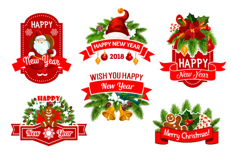 Merry Christmas and Happy New Year 2018 winter holidays greeting wish icons. Vector set of Christmas tree garland decorations of holly wreath and golden bells, Santa gifts and cookies in snowflakes