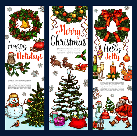 Christmas greeting banner design template. Иллюстрация