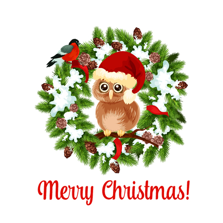 Merry Christmas holiday wish with owl on wreath
