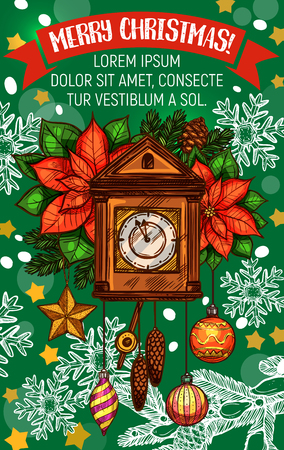 Christmas holiday greeting card with vintage clock.