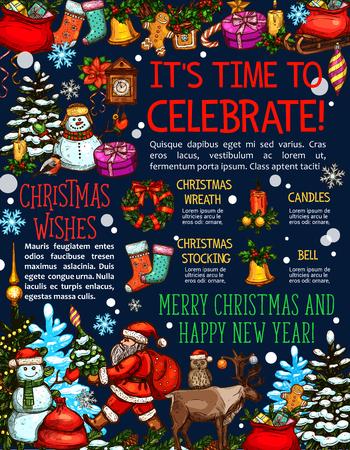 크리스마스 휴가 스케치 인사말 카드 디자인. 일러스트