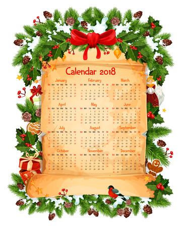Christmas 2018 calendar decoration template