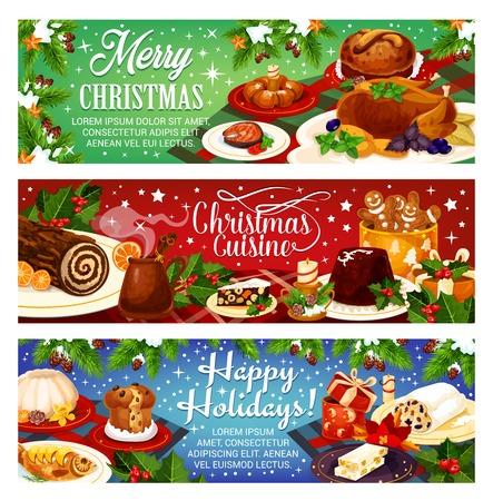 Banery z pozdrowieniami świątecznymi Ilustracje wektorowe