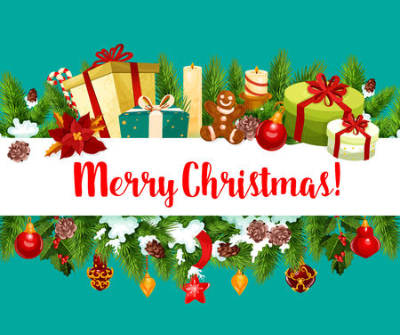 Merry Christmas holiday gifts greeting card design.