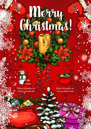 Christmas holiday wreath sketch greeting card