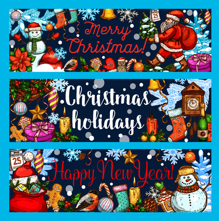 Christmas winter holiday sketch banners. Illustration